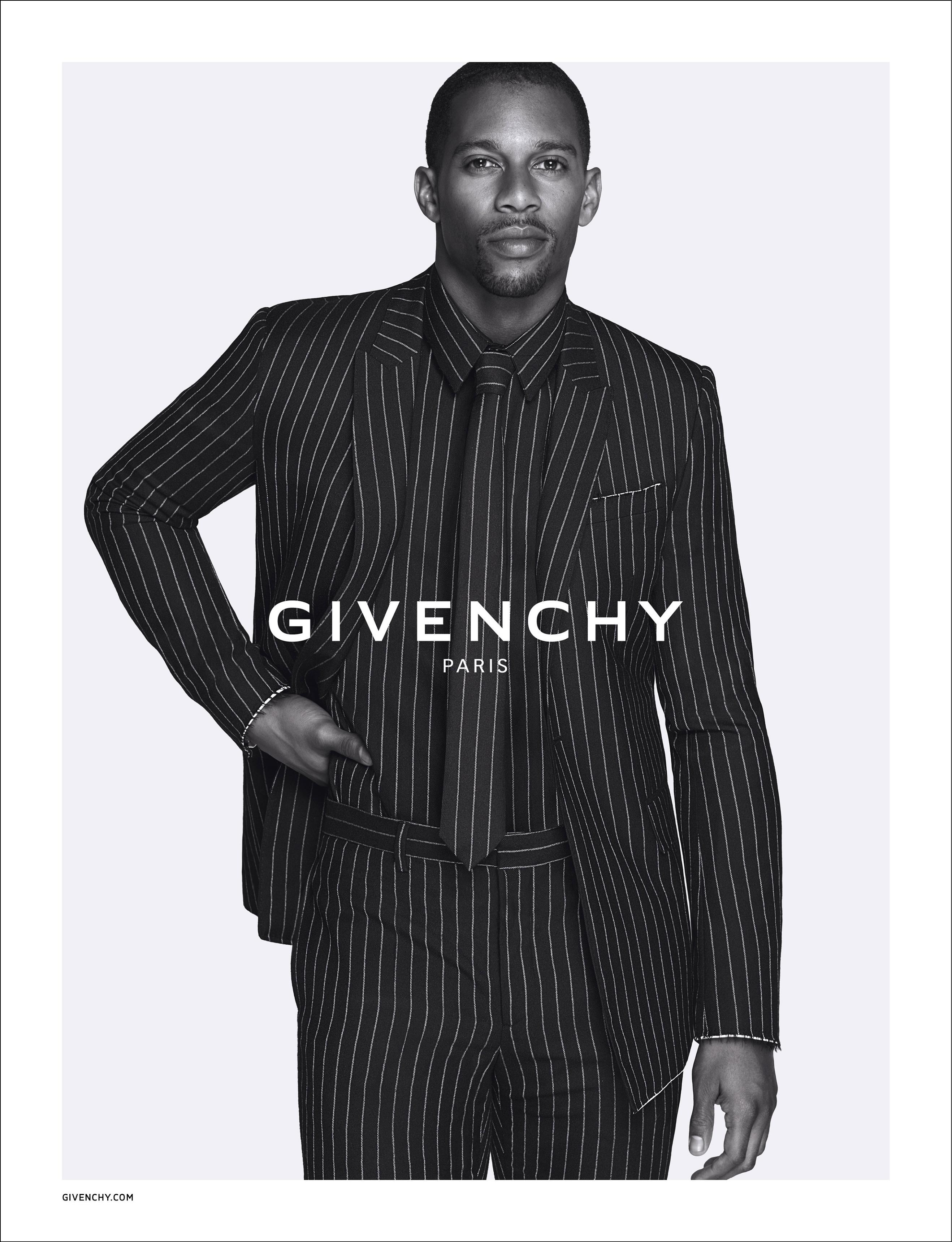 VC pinstripe suit - Victor Cruz Givenchy Ad Campaign